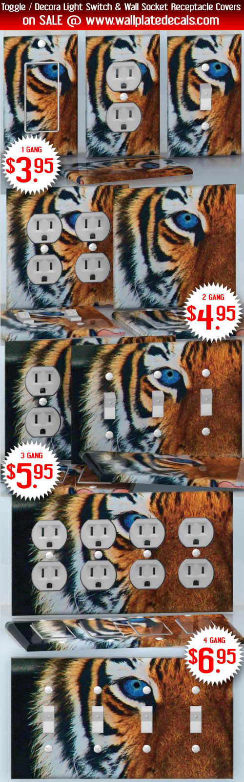 Diy Do It Yourself Home Decor Easy To Apply Wall Plate Wraps Triple Gang Switch Face Blue Eyed Tiger Beautiful Wallplate Skin Stickers For Single Double And