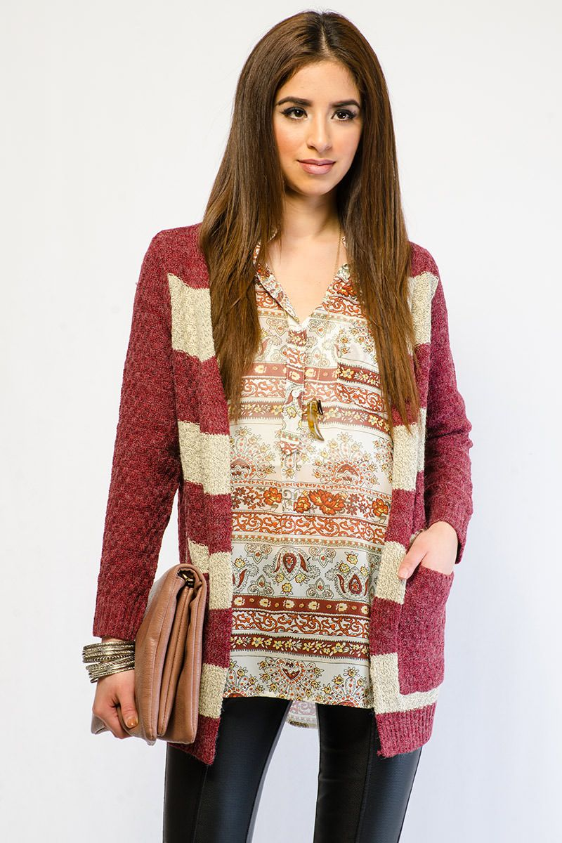 WARM STRIPED OPEN FRONT CARDIGAN $13.99