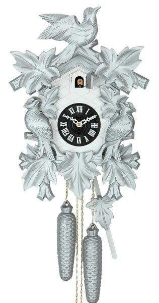 Black Forest Cuckoo Clock modern silver 8days movement classical HEKAS Helmut Kammerer Uhrenfabri