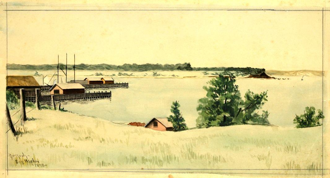 1898 Sag Harbor watercolour 28.9 x 53 cm
