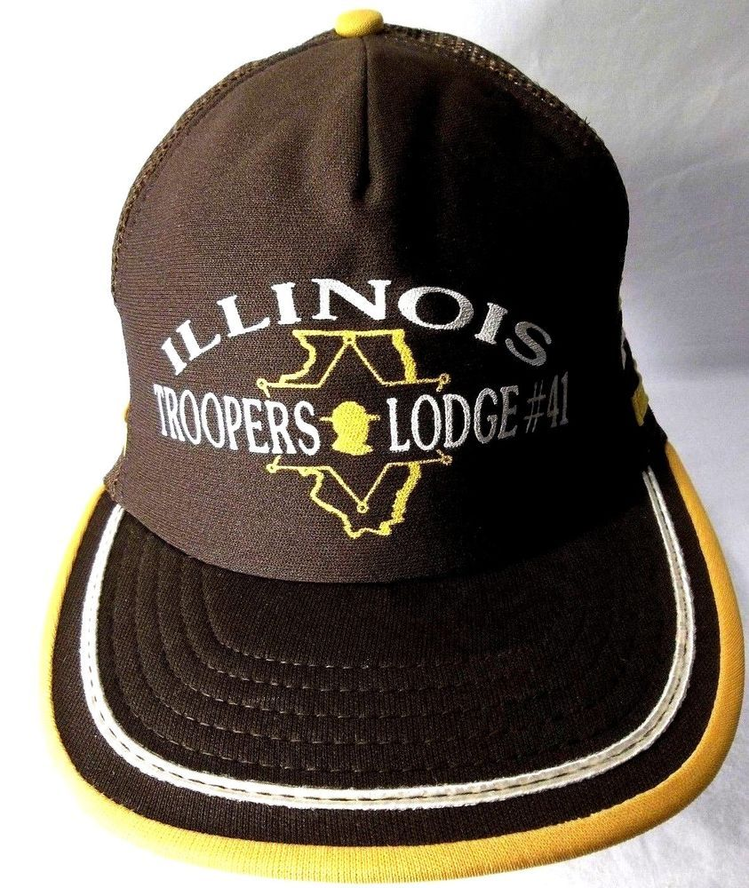 6235ed9afb9 VINTAGE ILLINOIS TROOPERS LODGE 41 SNAPBACK HAT MADE N USA 3 STRIPES  TRUCKER HAT  fashion