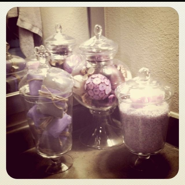 Decorative Soap Balls: Apothecary Jars. Using Them In My Bathroom. One Filled