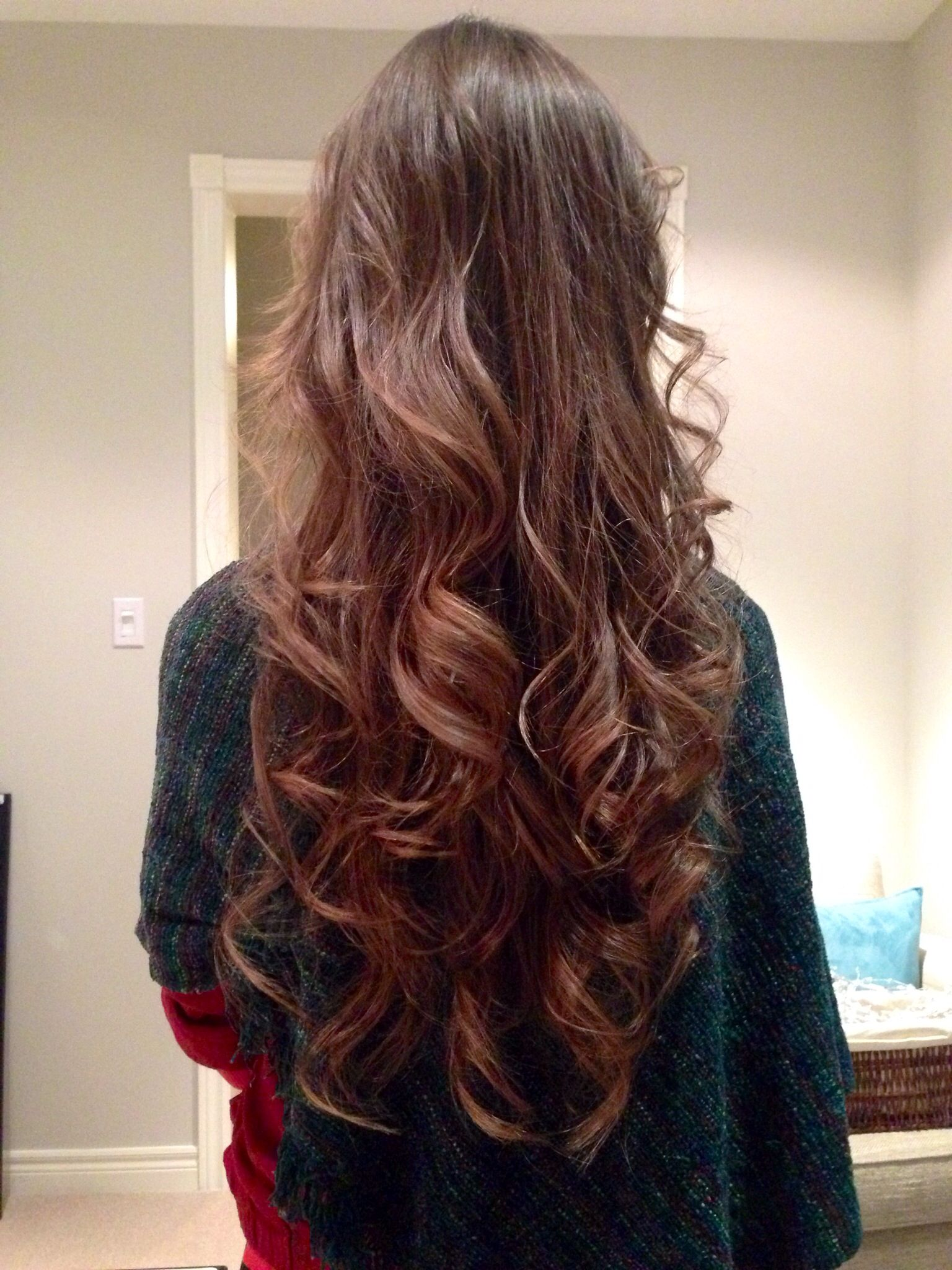 New long brown layered hair. Loose curls with a wand ...