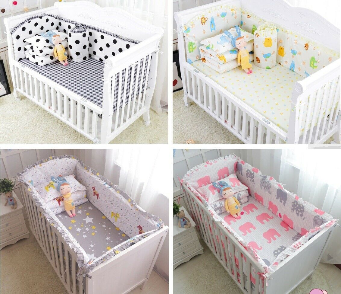 6pcs Baby Cot Bumper Bed Sheet Pillowcase Toddler Infant Crib