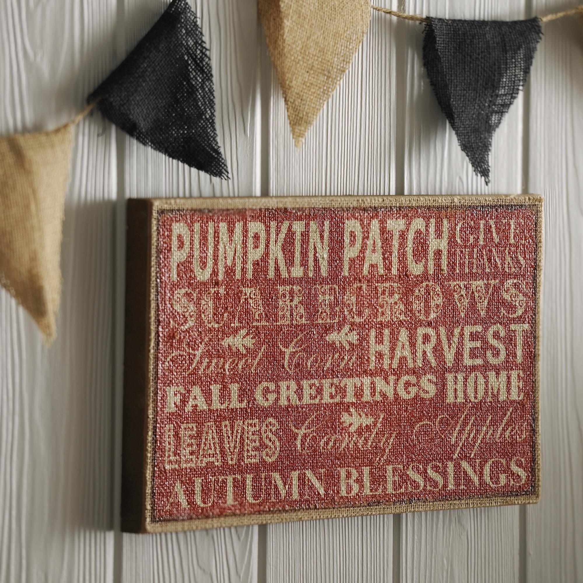 Autumn inspiration burlap plaque burlap pillows burlap and holidays