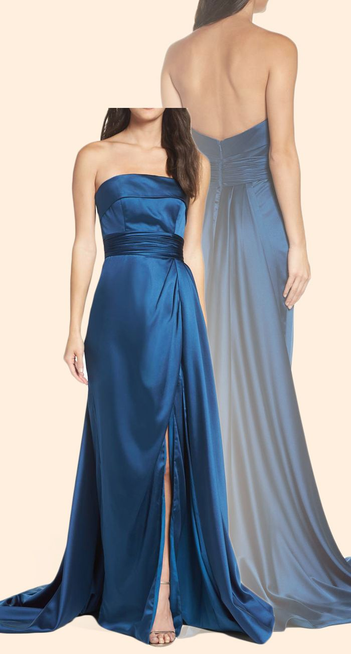 Strapless Teal Prom Dress with Court Train Elegant Formal Evening ...