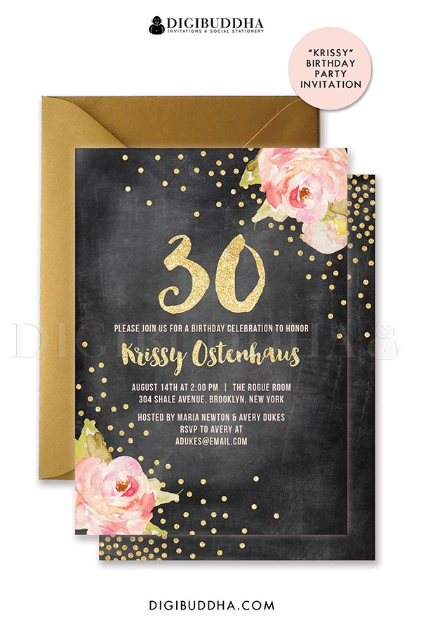 Pink peonies birthday invitation with chalkboard and gold glitter ...