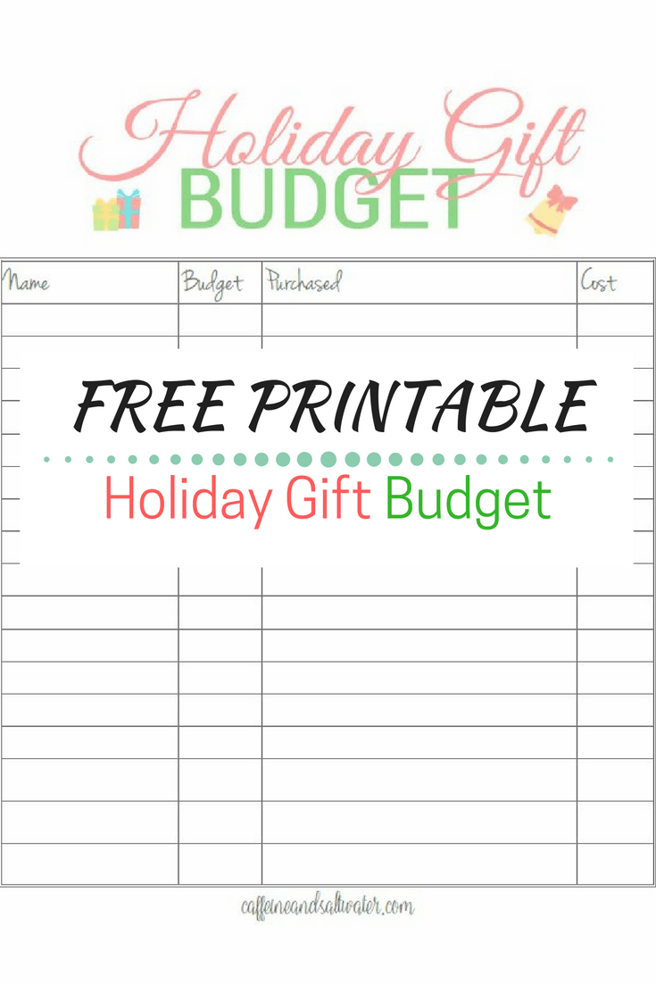Free Printable Holiday Gift Budget Worksheet, available in