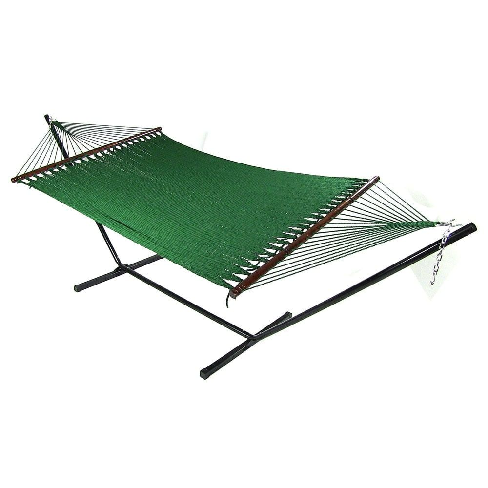 Medium image of sunnydaze large 2 person rope hammock with spreader bar  u0026 hammock stand  green