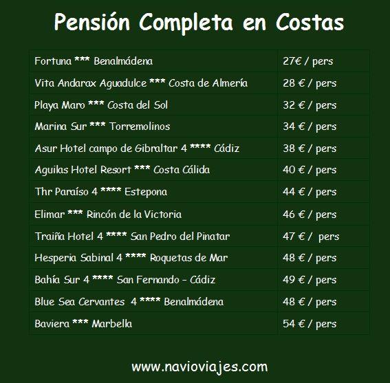 Pensión Completa en Costas desde 27 € por persona http://www.navioviajes.com/reserva-hotel-costas.php