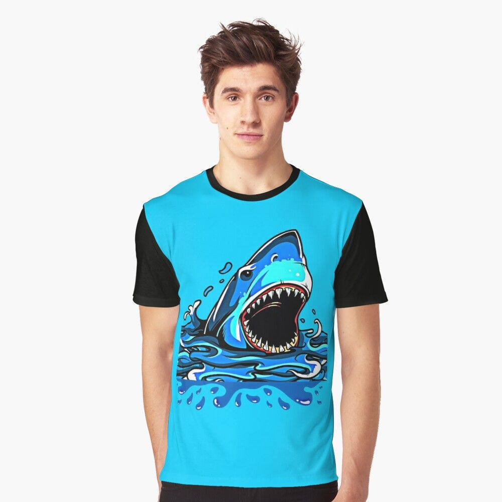 Shark abstract design top graphique art sea fish new t-shirt