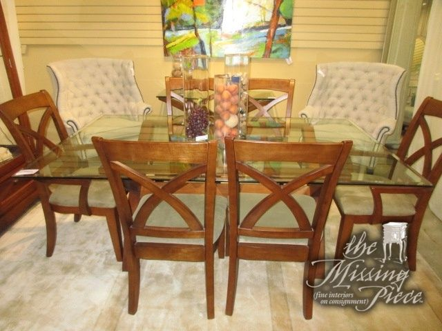 Ashley Glass Top Dining Table On A Medium Toned Base With Six X
