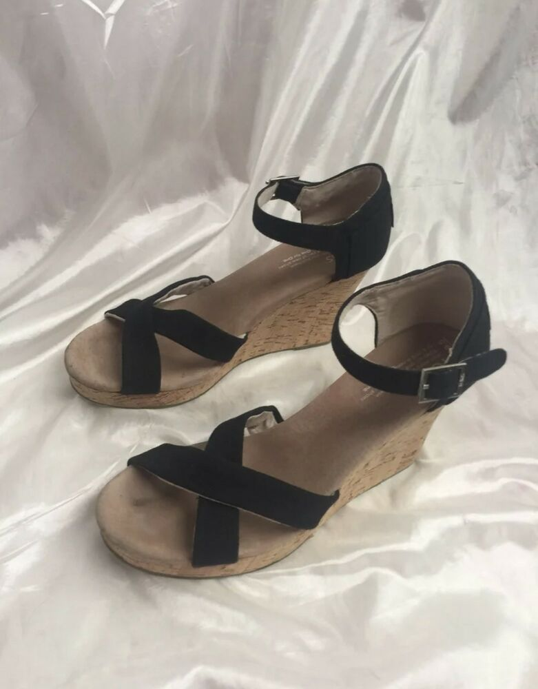 de67f068c857c3 TOMS Womens Sandals Size 9.5 Cork Wedge Black Canvas Strappy Open Toe Shoes   fashion  clothing  shoes  accessories  womensshoes  sandals (ebay link)