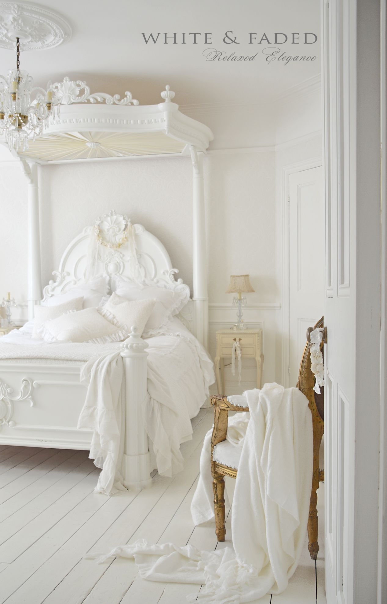 All White Dreamy Bedroom With Whitewashed Hardwood Floors, French  Antique Inspired Furniture And Plush, Light Linens.