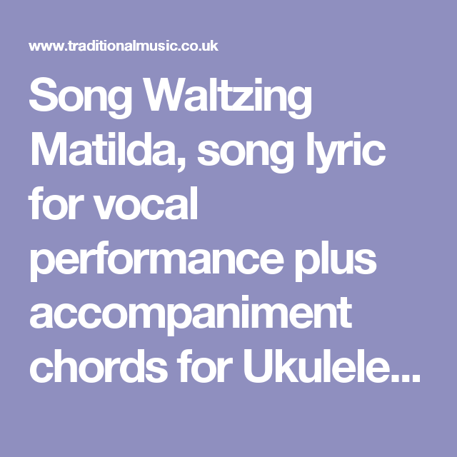 Song Waltzing Matilda Song Lyric For Vocal Performance Plus