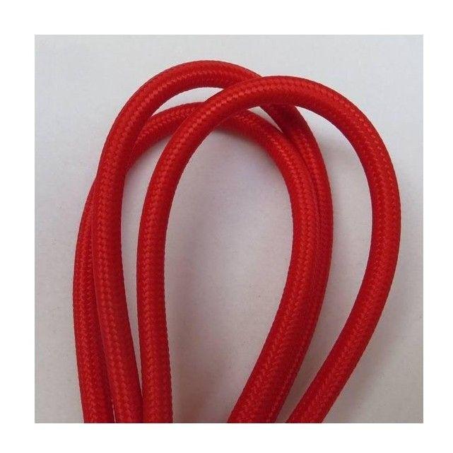 Fil électrique tissé de couleur Rouge vintage look retro en tissu - couleur des fils electrique