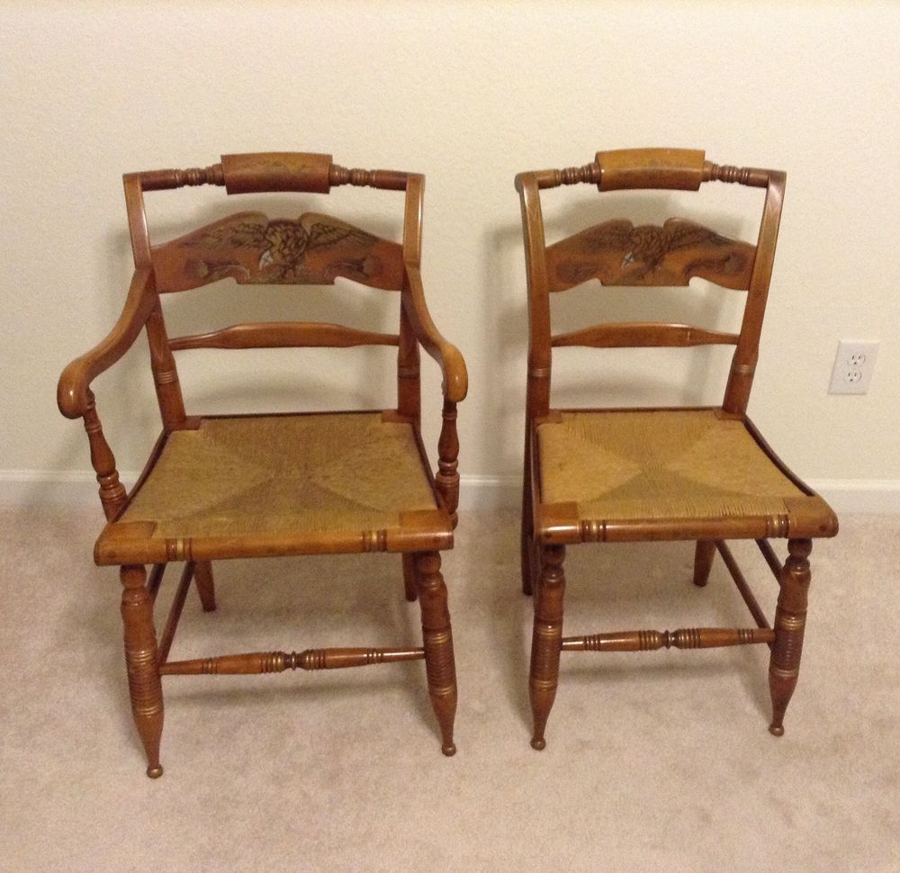 Ethan Allen Hitchcock Chairs American Eagle W. Woven Rush Seats  #FrenchFrenchCountry #EthanAllen