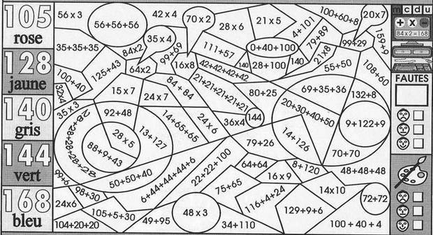Un coloriage magique pour apprendre en s 39 amusant les - Calcul cm1 a imprimer ...