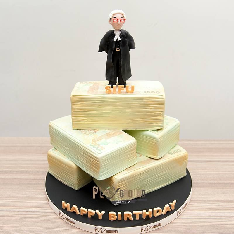 Barrister lawyer cash tower birthday celebration cake
