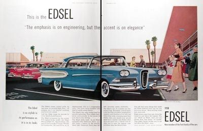"""""""The emphasis is on engineering, but the accent is on elegance."""" The Edsel Citation at that 1950s  symbol of suburban affluence, the shopping center."""