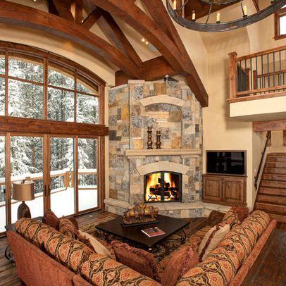 Image result for corner fireplace vaulted ceiling ...