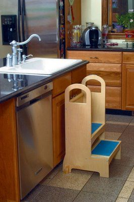accessing counter and sinks is easy and fin for toddlers with the high rise step stool constructed of birch plywood with a natural luster