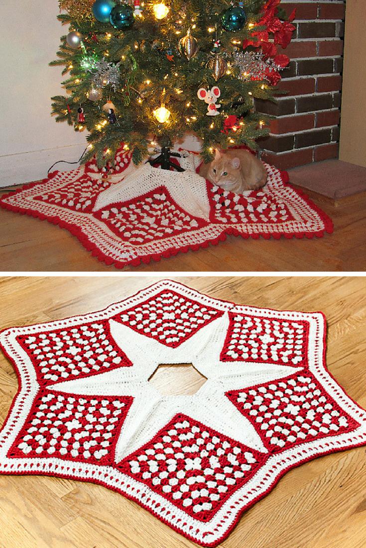 10+Crochet Christmas Tree Skirt Free Patterns