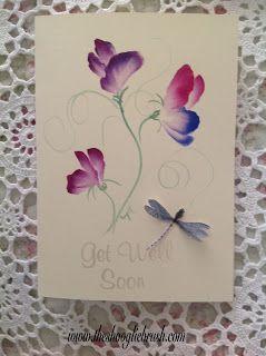 Shooglie Crafts : Dragonflies & Sweet Peas on card