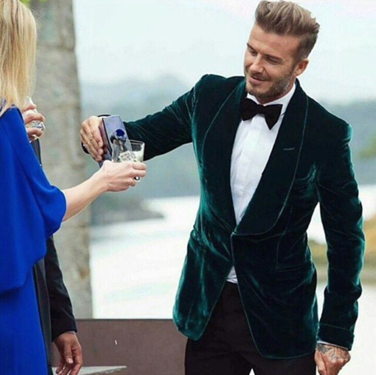75ff0cbc David Beckham stylish as ever in a green velvet tux jacket. A true British  gent style inspiration