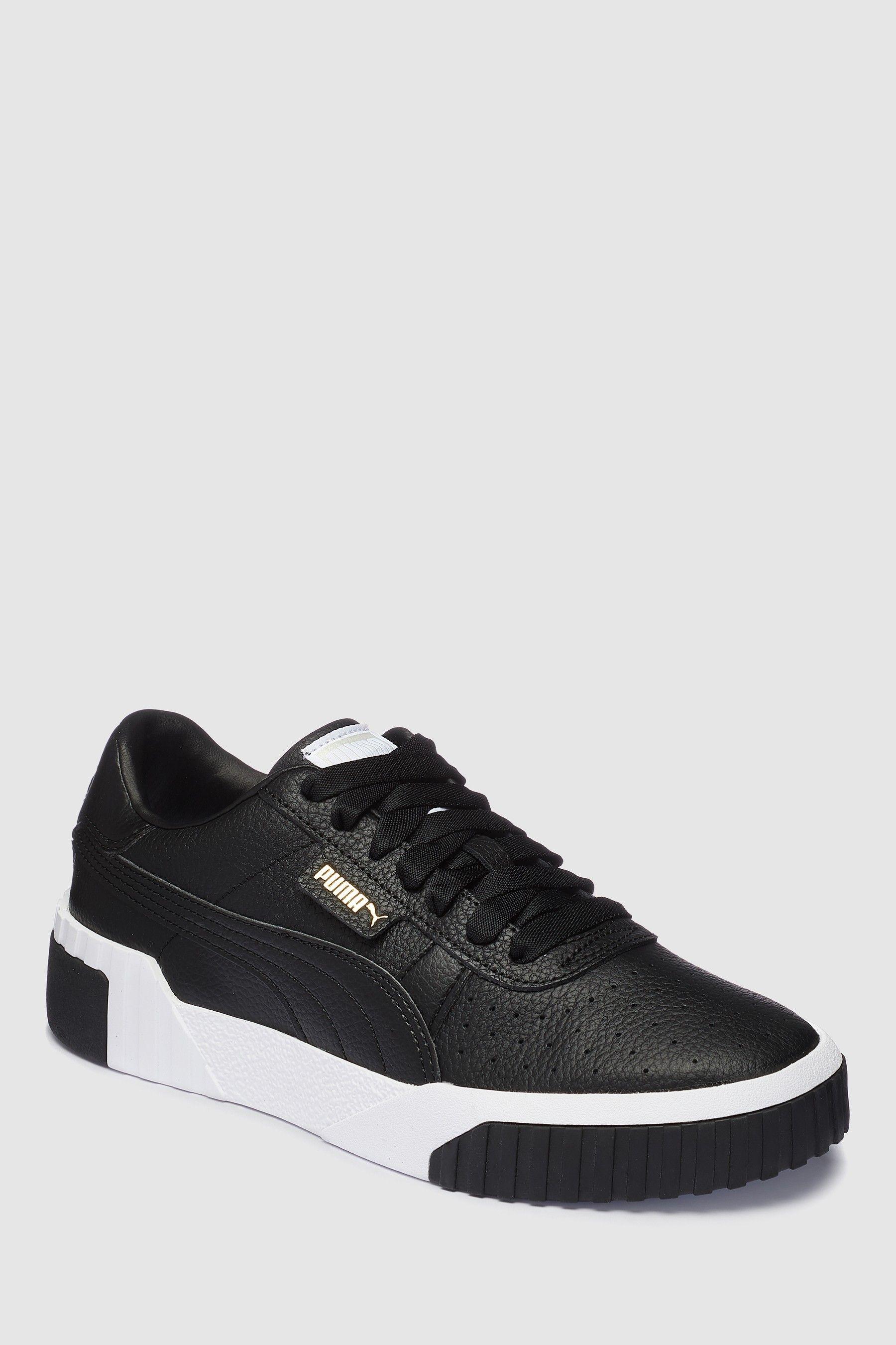 Damen puma Weiß schwarz Cali Leather Sneaker
