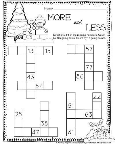 1st Grade December Math And Literacy Worksheets Ten More Ten