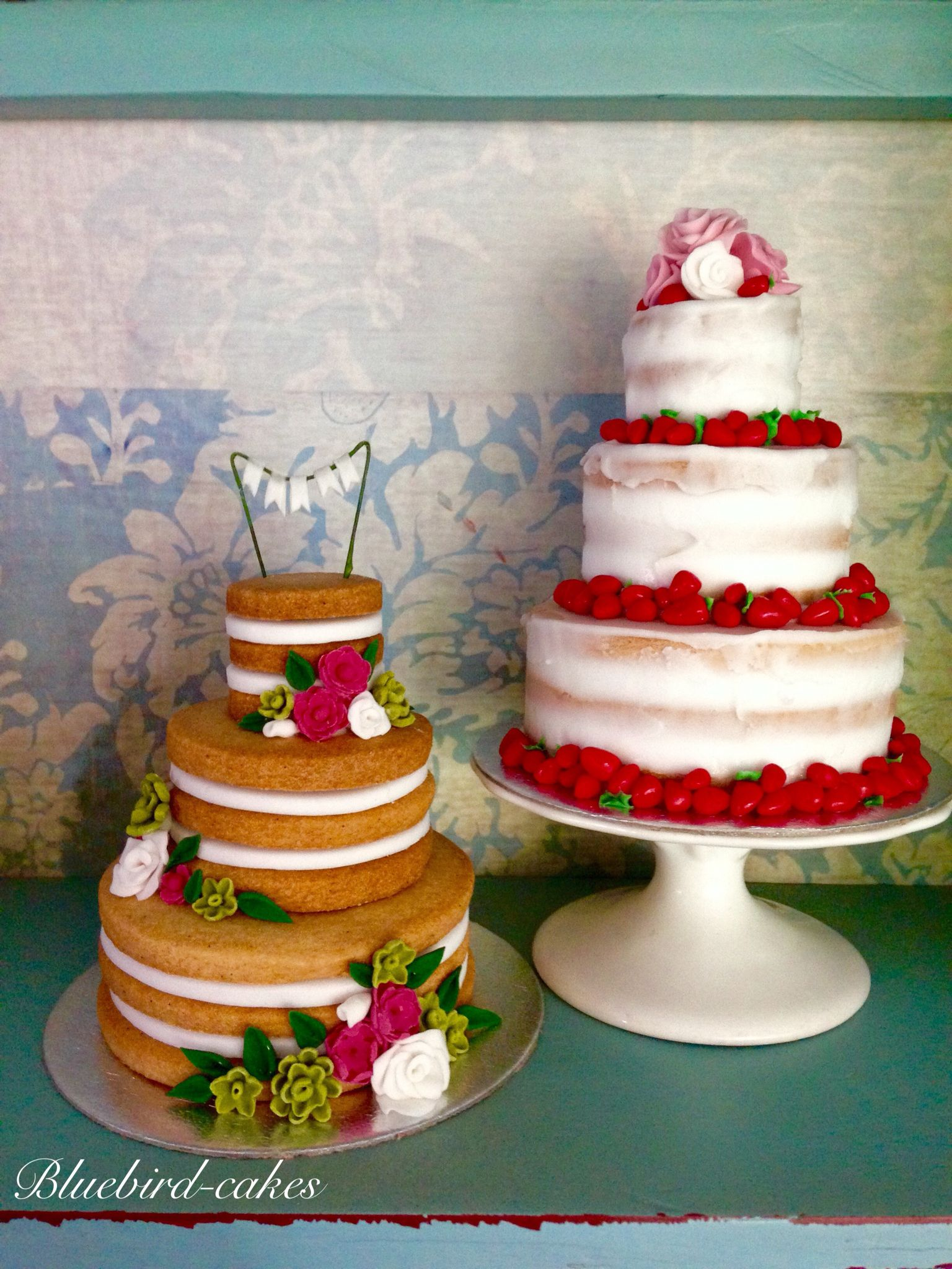 Mini naked weddings cake by Zoe Smith Bluebird-cakes.  Just 4 inches tall…