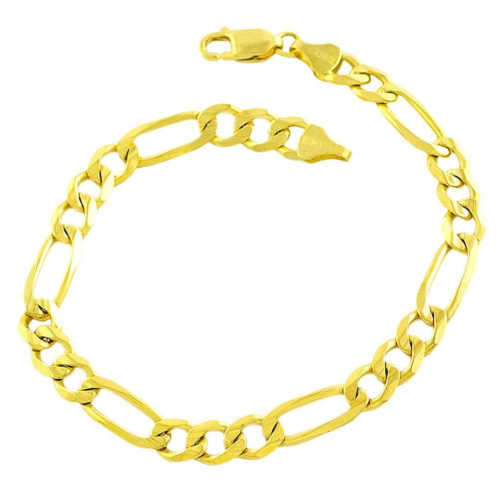 Fremada 14k Gold 8.5-inch Figaro Bracelet