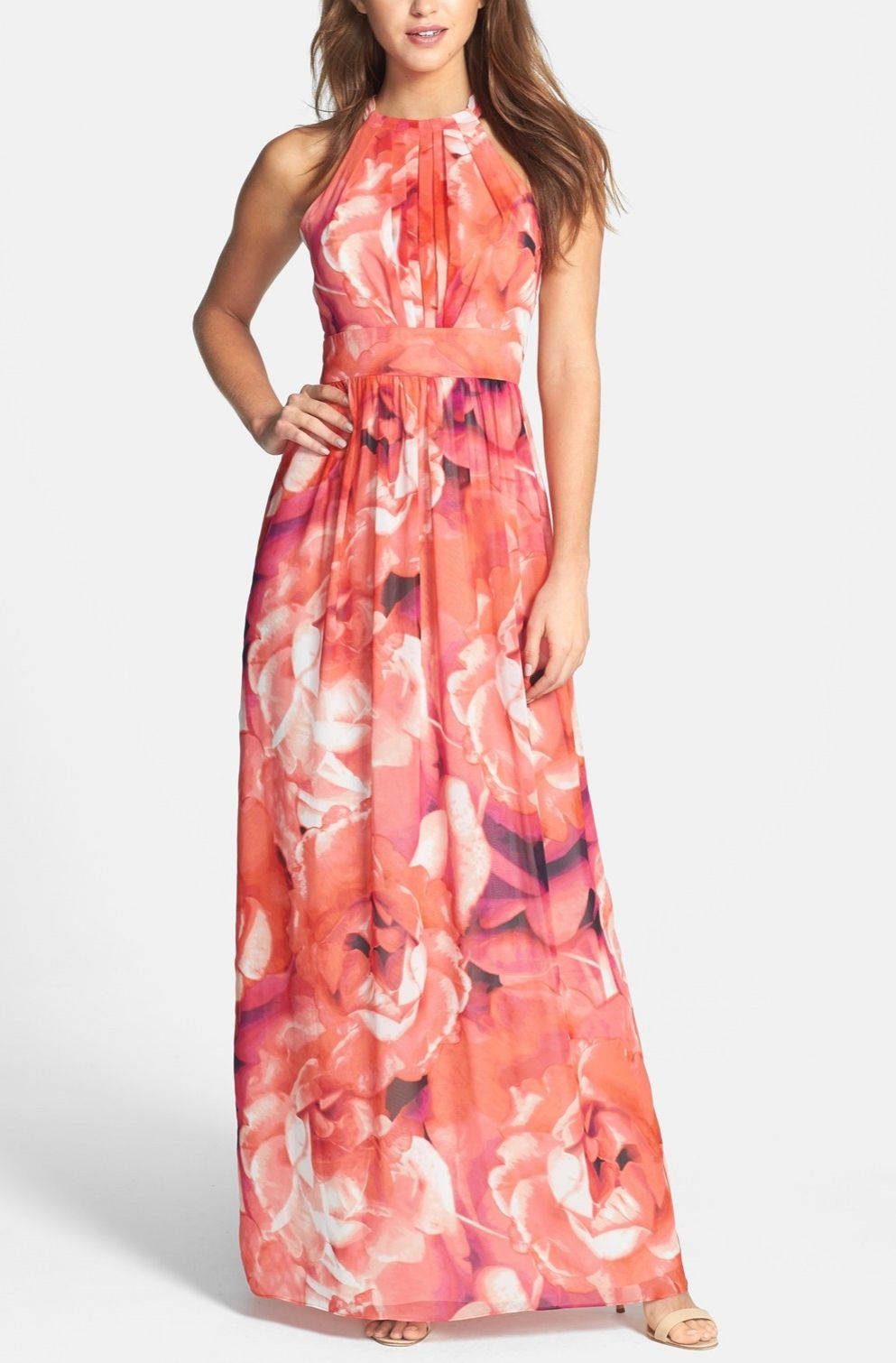 Lovely pink chiffon maxi dress. @nordstrom #nordstrom #summerdress ...