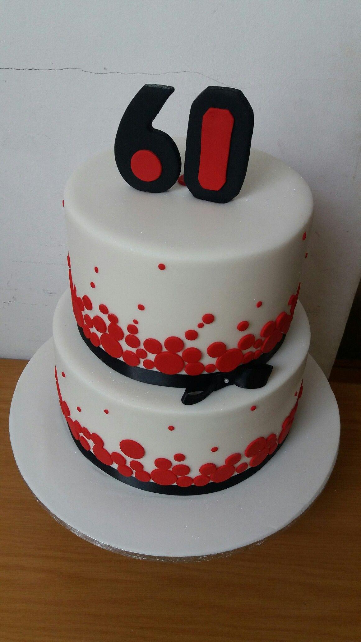 Pleasing Red Black And White 60Th Cake White Birthday Cakes 60Th Birthday Cards Printable Giouspongecafe Filternl
