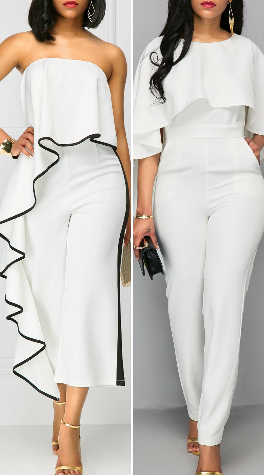 f8d897547cc Elegant white jumpsuits for wedding as a guest