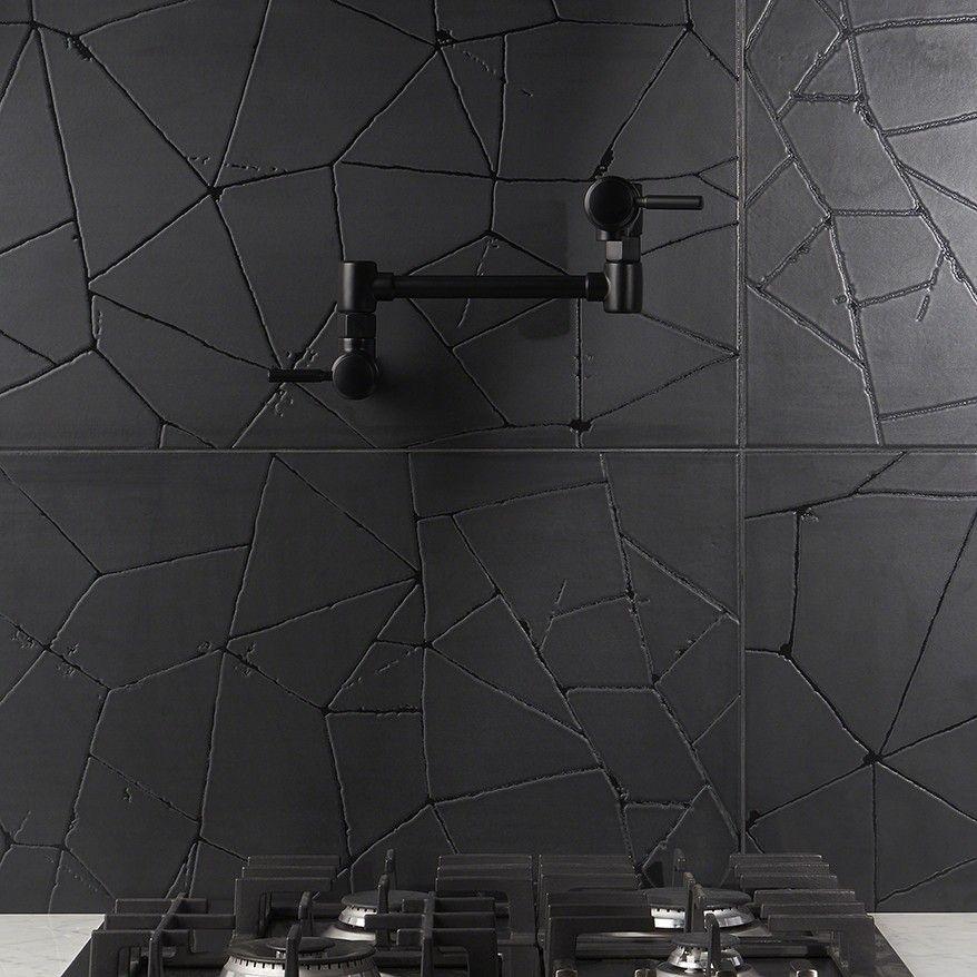 Faber Black 16x32 Matte Porcelain Tile Black Tiles Porcelain Tile Black Backsplash