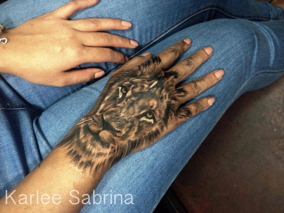 Lion Hand Tattoo Done By Karlee Sabrina A Tattoo Artist Located In Queensland Australia Lion Hand Tattoo Hand Tattoos Hand Tattoos For Guys