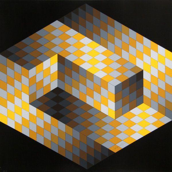 Black Flower 21st Century Op Art Set: Victor Vasarely (Hungarian-French 1906–1997), [Op-Art