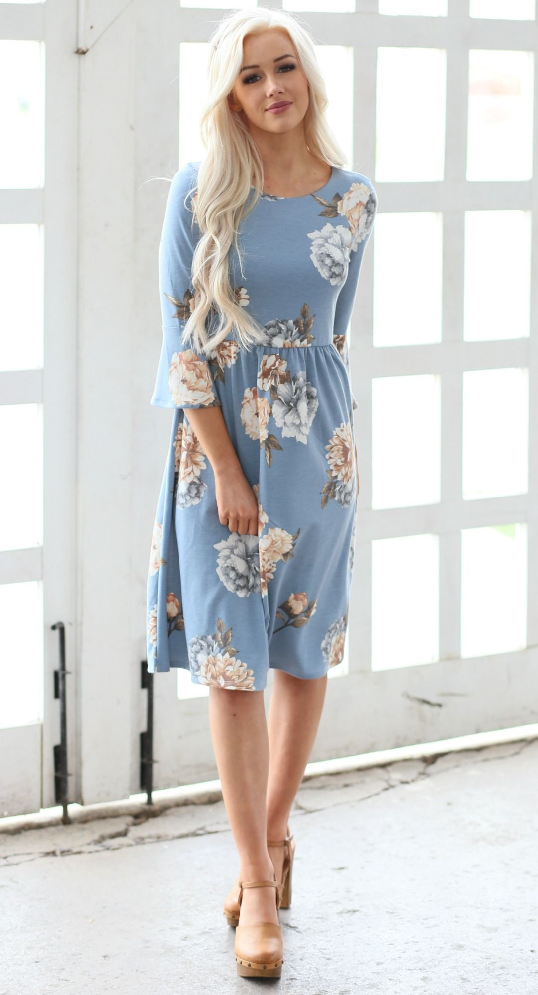 a83fd916fa0e Dusty light blue and white floral Naomi dress. Cute ruffle sleeve. Modest  length women's dress in missy sizes XS-XXL.