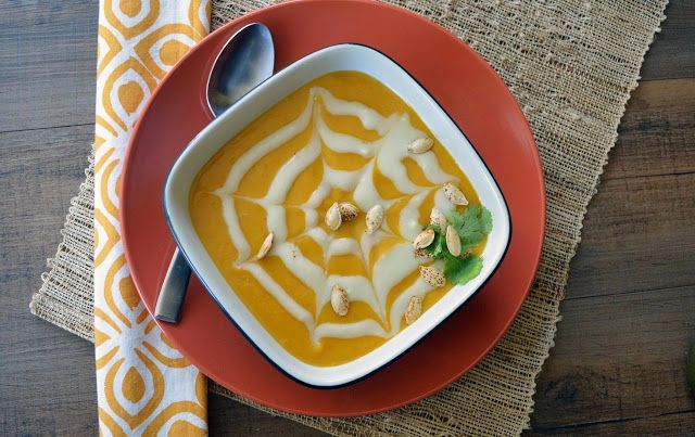 Halloween Chipotle Pumpkin Soup with Sweet Potato Cream   This creamy, sweet and spicy soup will be just the dish to warm you up on a col...