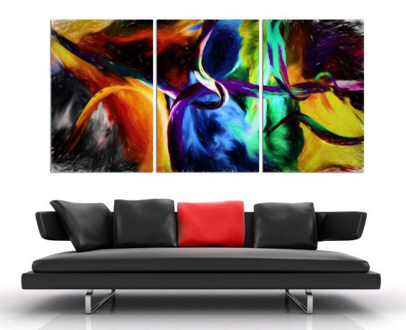 3 Panel Split Abstract Art Canvas Print 1 5 Deep Frames Oil Painting Texture Effect For Home Office Wall Decor Interior Design