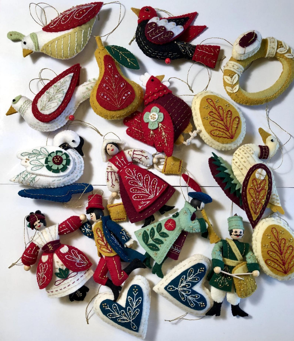 12 Days Of Christmas Ornaments Handmade Felt And Beaded Etsy In 2021 Felt Ornaments Handmade Christmas Ornaments 12 Days Of Christmas