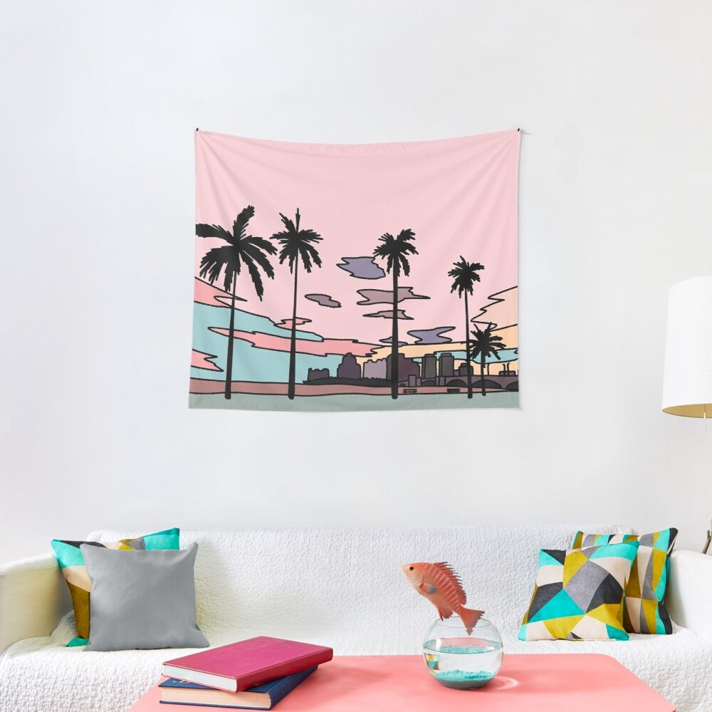 Florida Sunset By Elebea Wall Tapestry Tapestry Wall Tapestry Sun And Moon Tapestry