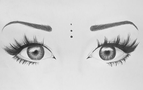 Art beauty black and white drawing eyes love make up sketch