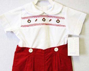 Baby Boy Clothes   Smocked Baby Boy   Smocked Baby Clothes   Christmas Outfit Boy   Christmas Baby Boy    Christmas Romper   412572-CC158