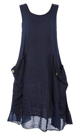 954c58cebe9 Ladies Womens Italian Lagenlook Quirky Sleeveless Ribbed Sides Pockets  Linen Tunic Dress One Size Plus UK 14-18 (One Size Plus