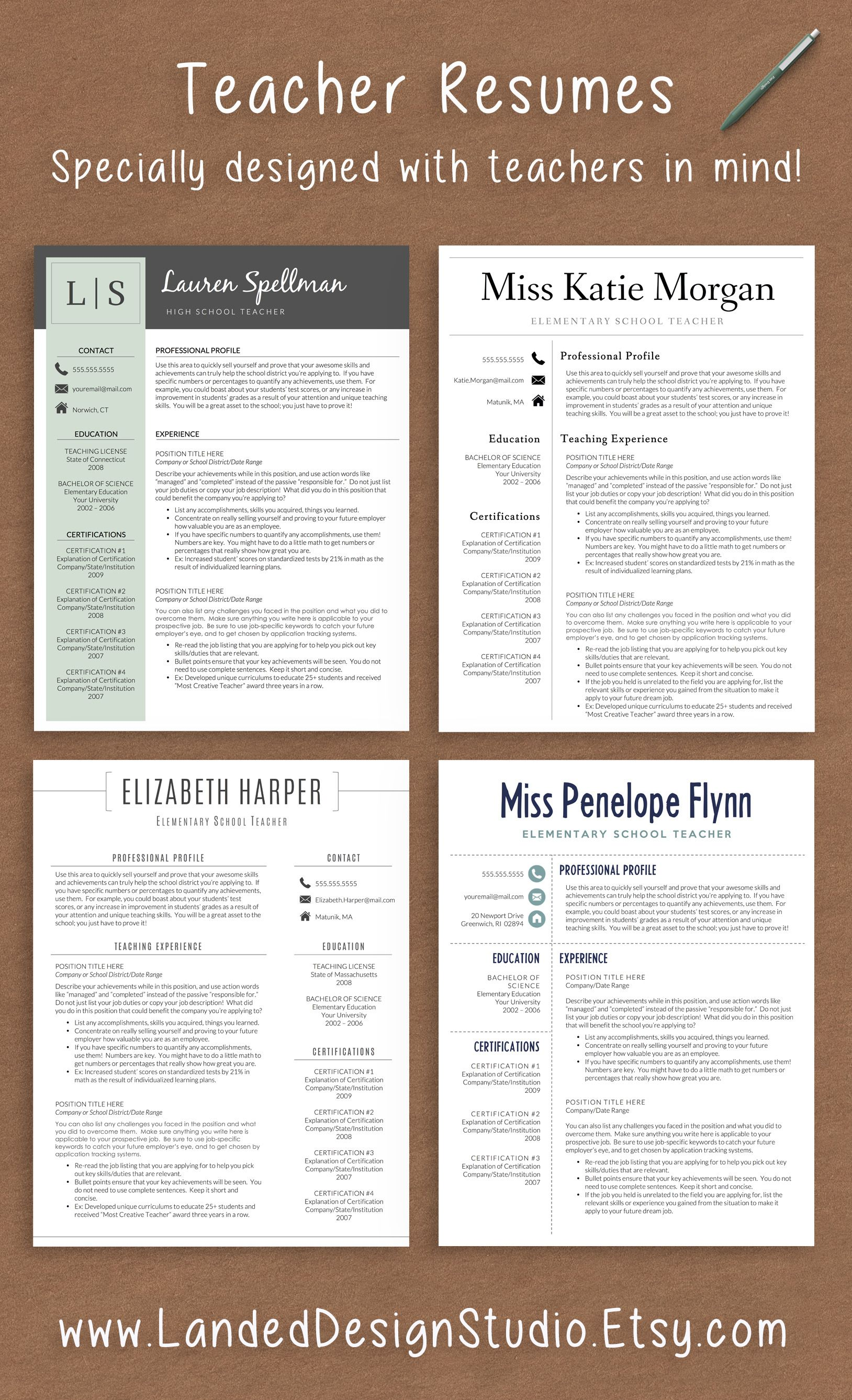 Professionally designed resumes with teachers in mind! Completely ...