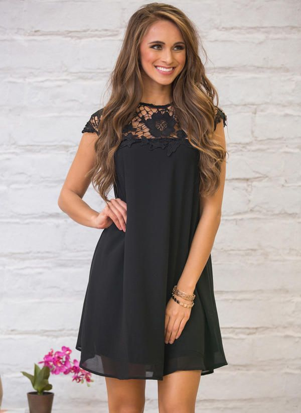 [US$ 21.99] Chiffon With Lace Above Knee Dress (199214322) #blackdresscasual