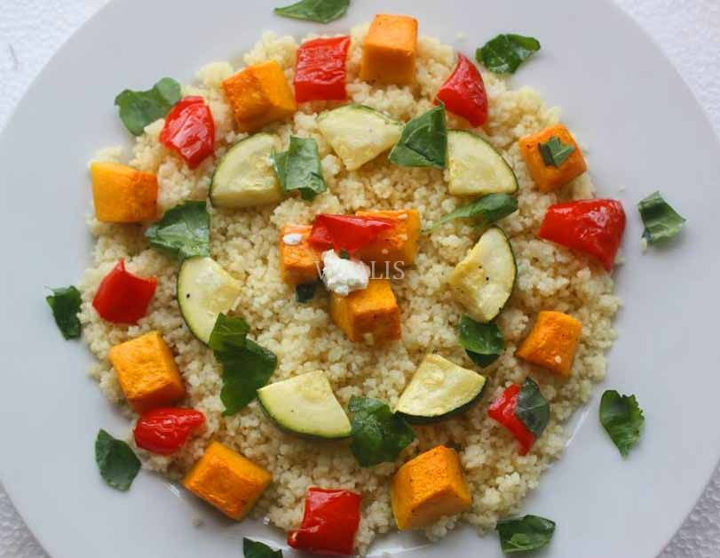 Couscous salad with roasted pumpkin spinach red pepper